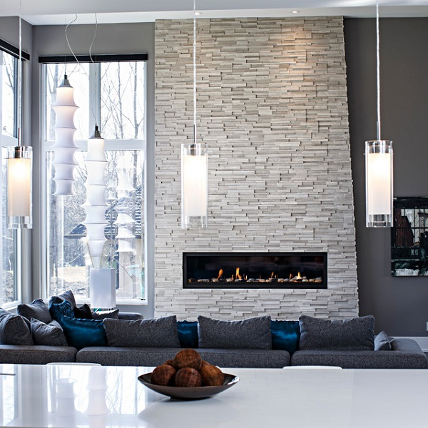 Stone fireplace designs contemporary home ideas creative lighting