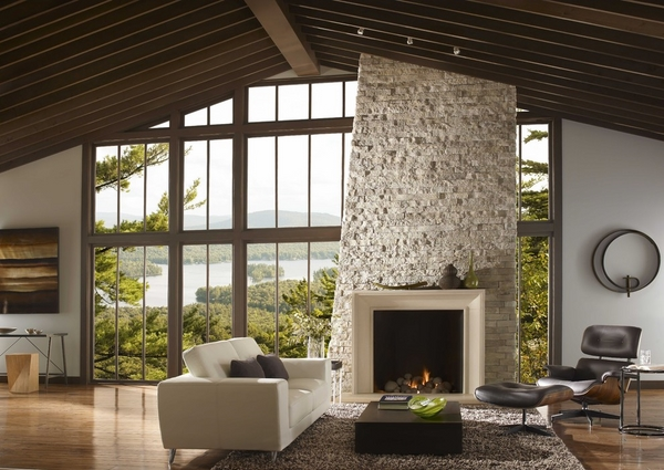 contemporary family room design stone fireplace focal point home interior
