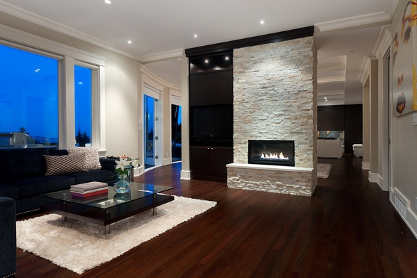 modern stone fireplace recessed lighting