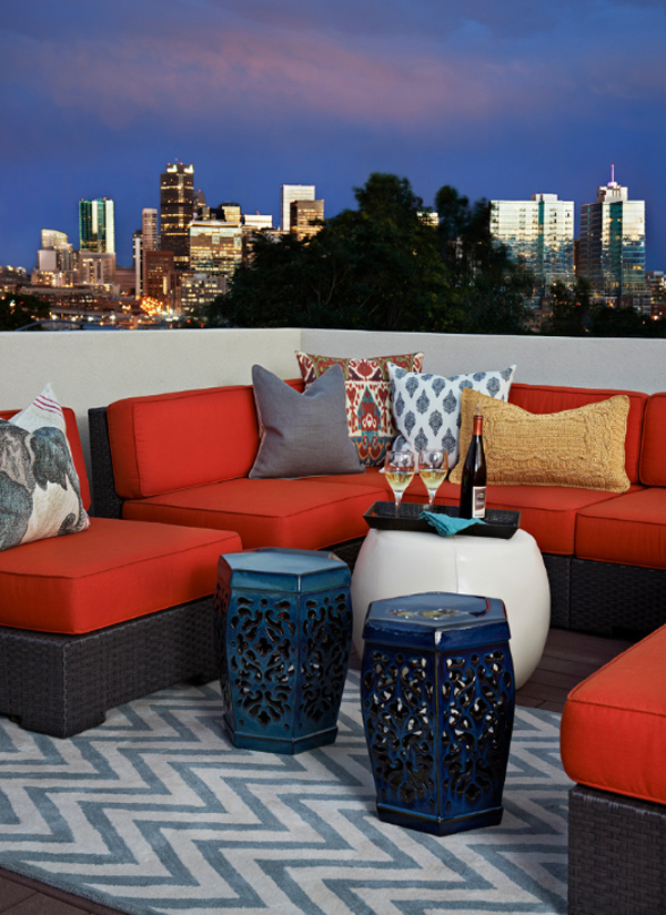 balcony design ideas area rug outdoor chair cushions colorful pillows decorative accents