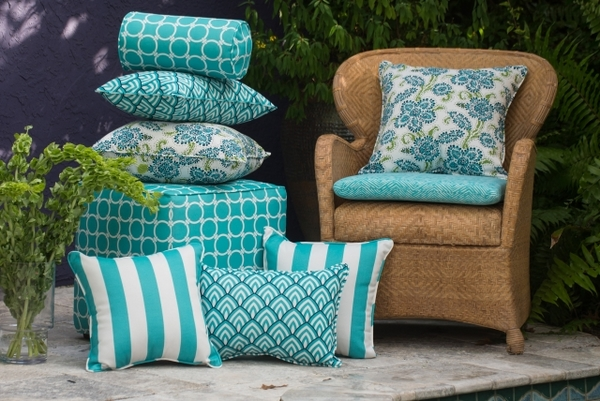 outdoor pillows rattan armchair turquoise different pattern