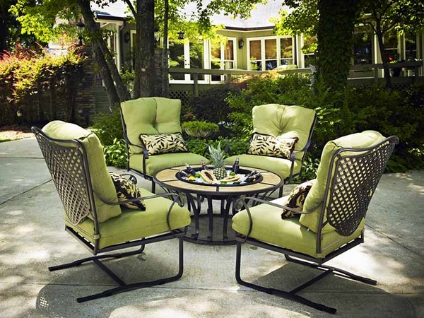 iron patio dining furniture green chair cushions round table
