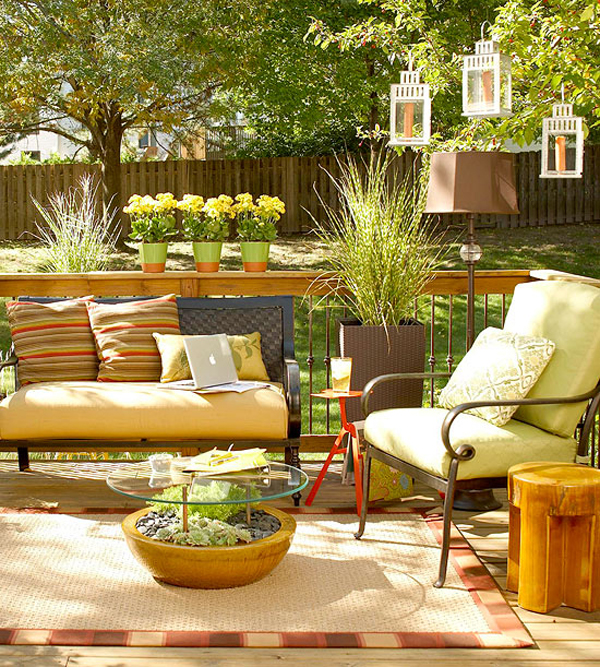 patio firniture area rug outdoor chair colorful pillows decorative accent