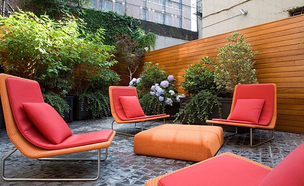 modern patio furniture cushions red color
