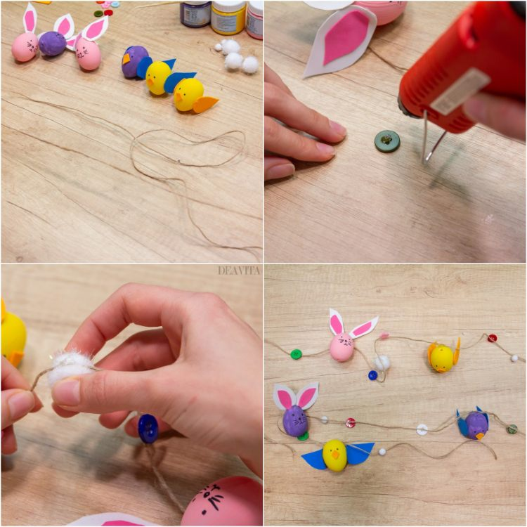 How to make bunny and chick Easter egg garland easy craft ideas