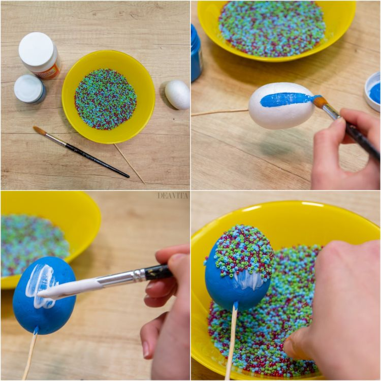 how to make a beaded Easter egg step by step