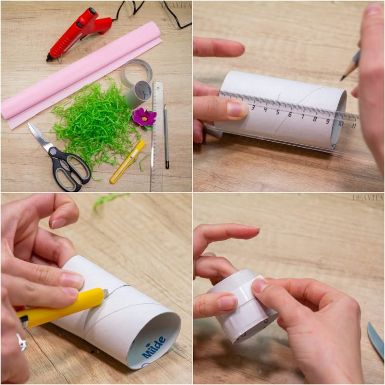 DIY egg cup made of paper rolls spring decoration ideas tutorial