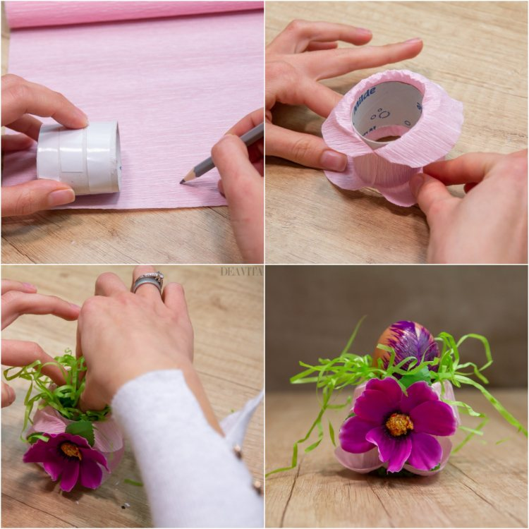 DIY egg cup made of paper rolls spring decoration step by step