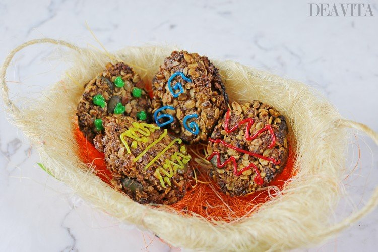 decorated granola Easter Eggs cookies