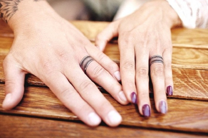 matching engagement and wedding ring tattoo ideas for men and women