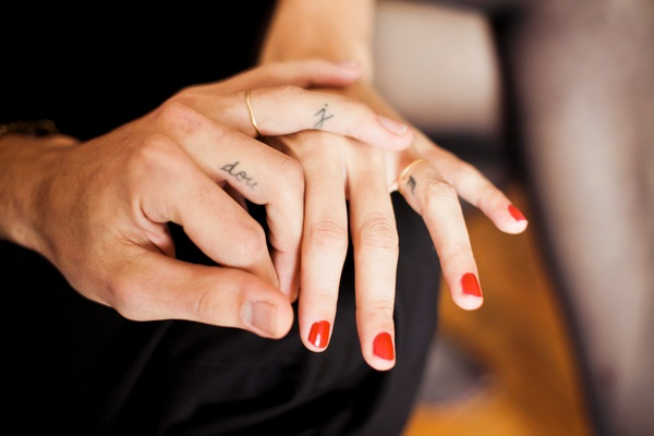 tiny finger tattoos for couples engagement wedding ring ideas