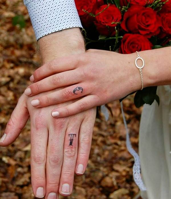 wedding ring tattoo ideas for couples name letter