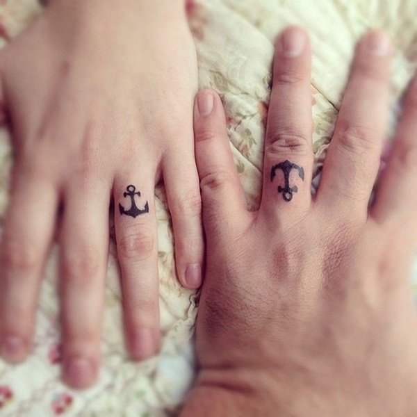 matching anchor tattoo design for couples on ring finger