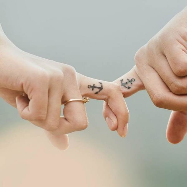 matching anchor finger tattoos for couples wedding tattoo ideas