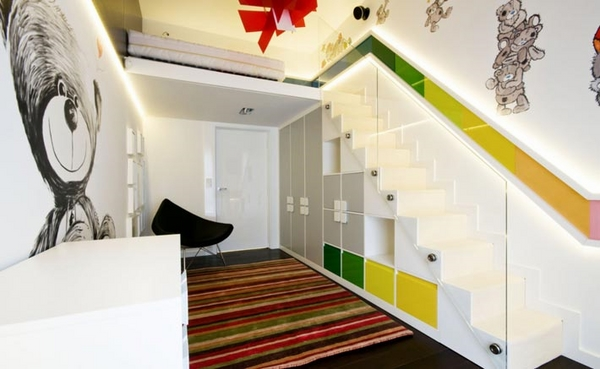 Super creative storage ideas for stairs - shelves and cabinet design
