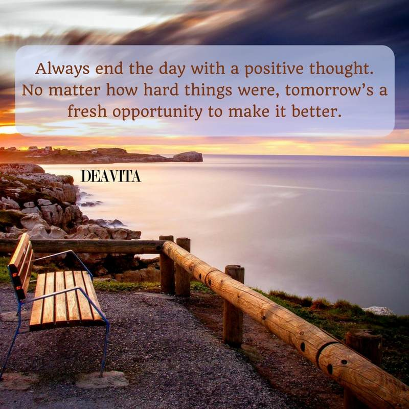 positive good night quotes Always end the day with a positive thought