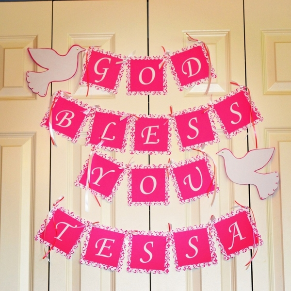 christening decorations home party decor ideas paper banner