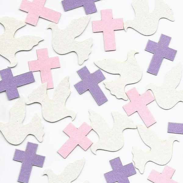 doves cross confetti christening table decoration blue pink purple