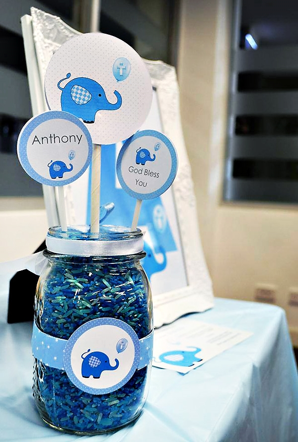 christening party theme decoration ideas blue elephant