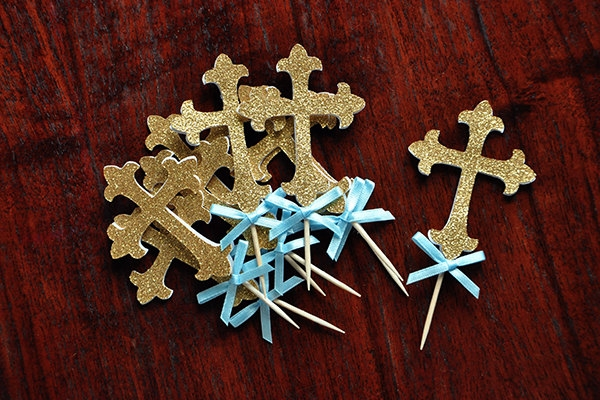 christening party decorations cupcake toppers ideas glitter cross