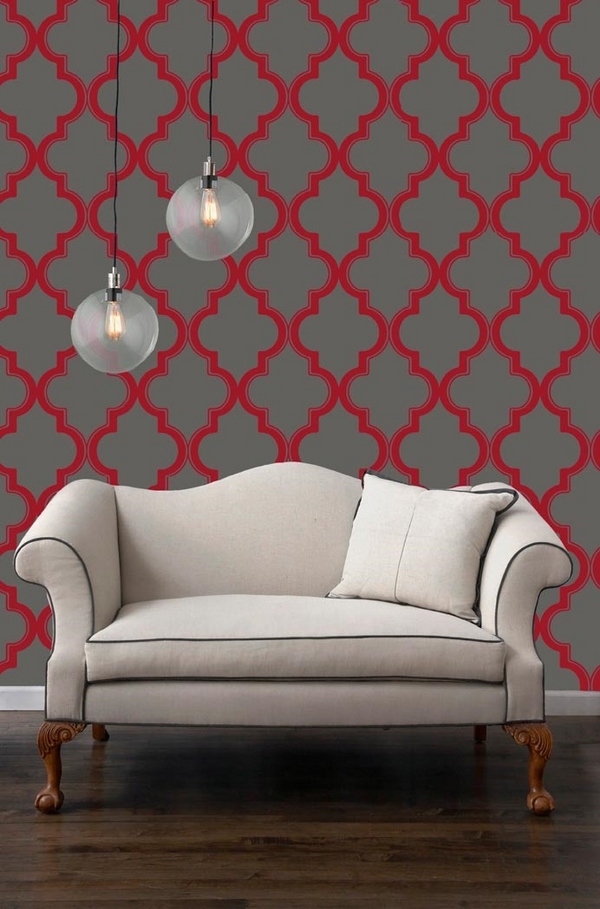 temporary-wallpaper-ideas-living-room decor gray red colors