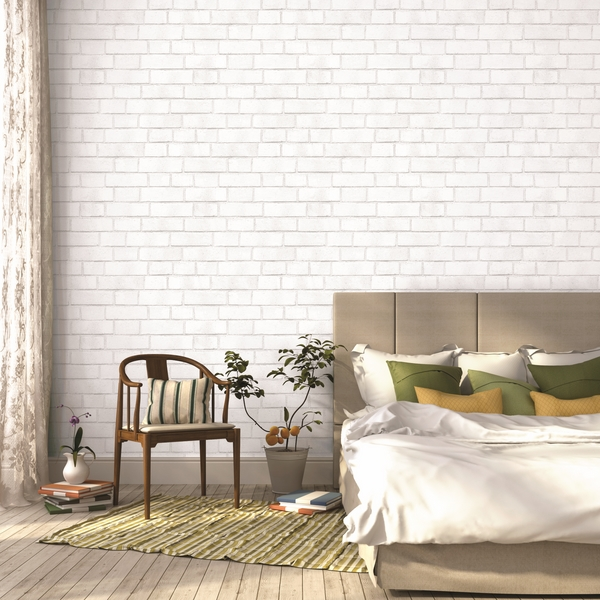 White brick textured-temporary-wallpaper-bedroom decor ideas
