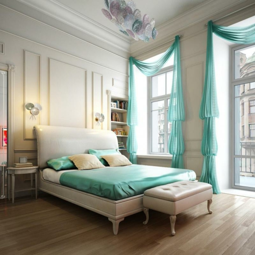 Bedroom turquoise color classic design