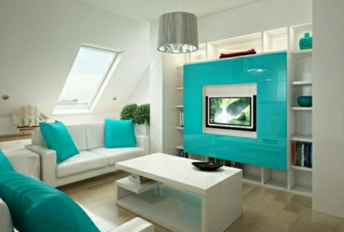turquoise blue home accessories living room design