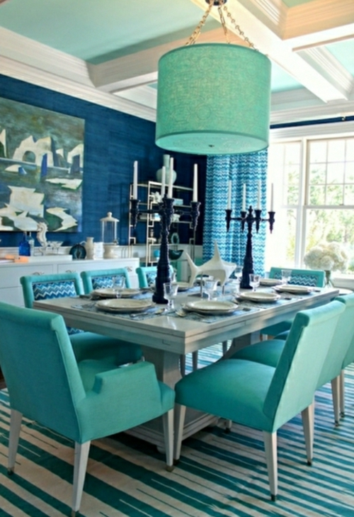 turquoise color dining chairs