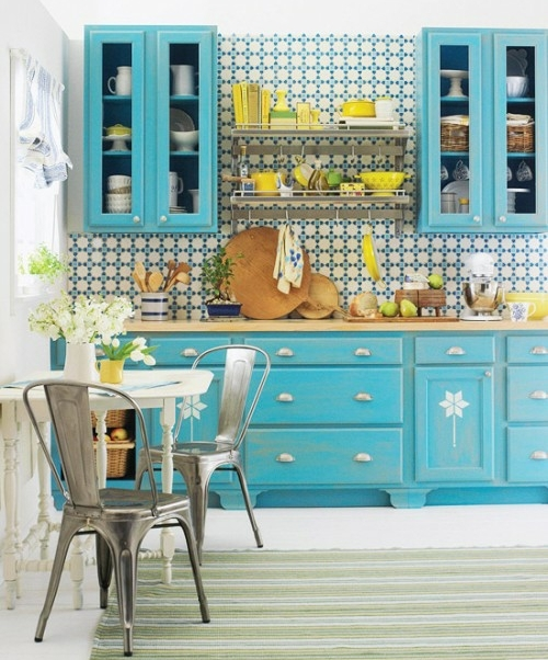 turquoise blue green kitchen