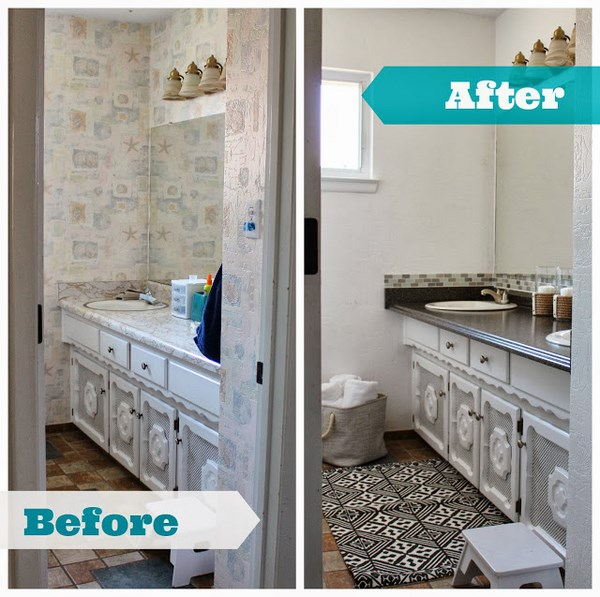 painting-over-wallpaper-bathroom before and after
