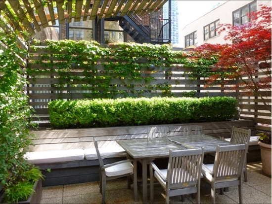 Wooden patio furniture plants for balcony as privacy fence