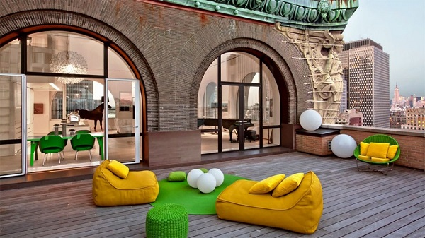 rooftop terrace colorful furniture apartment