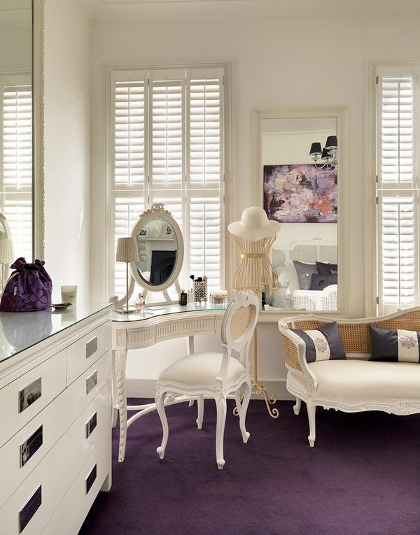 White bedroom furniture privacy protection ideas wood shutters