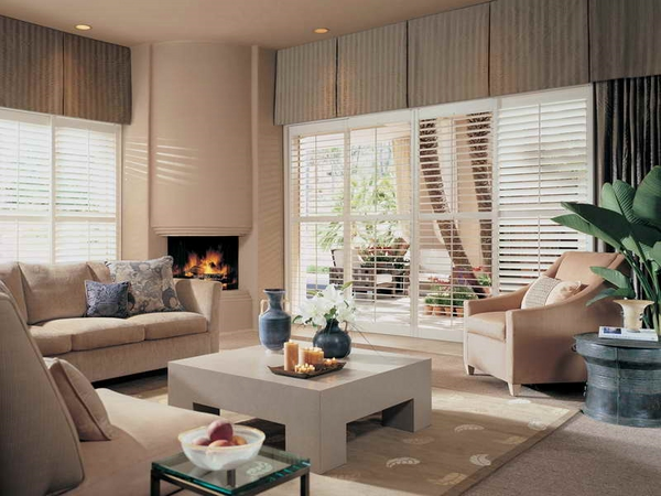 Living rooms with fireplace plantation window shutters