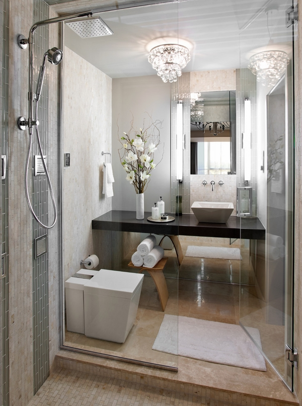 contemporary-small-bathroom-shower-glass-partition-toilet-bidet-combo