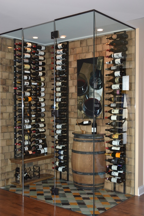 contemporary wine cellar design with wall mounted wine racks