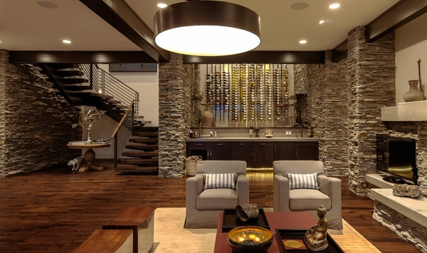 contemporary family room wall-mounted wine rack