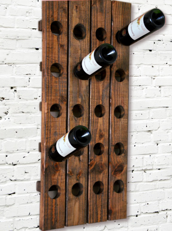 DIY wall mounted rack wood wooden pallets
