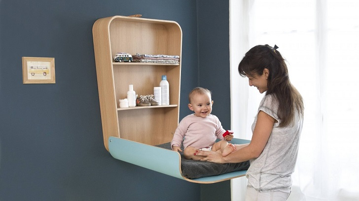 design ideas changing table blue