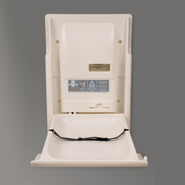 vertical baby changing station with safe strap