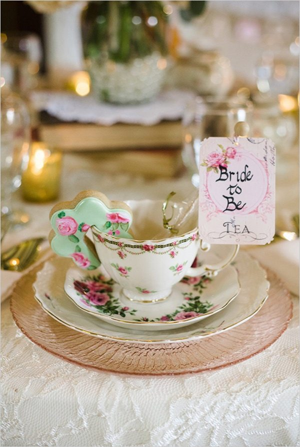 bride to be tea party ideas table decoration and place setting
