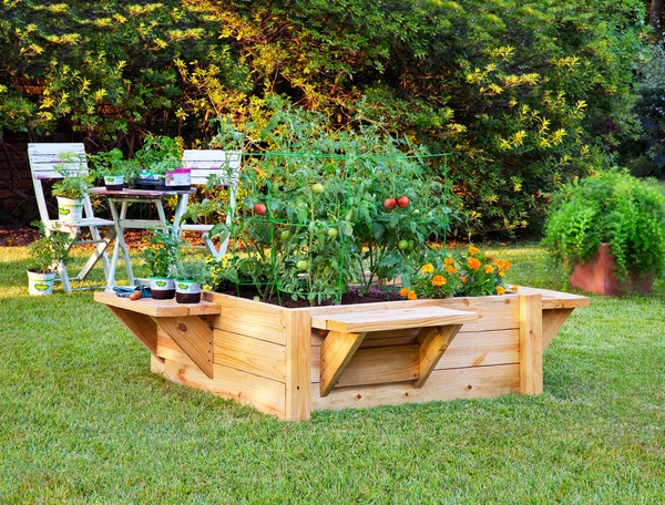 garden decorating ideas raised bed with benches