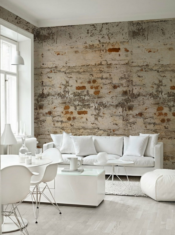 how-to-whitewash-brick-wall-loft style ideas modern white furniture scandinavian design