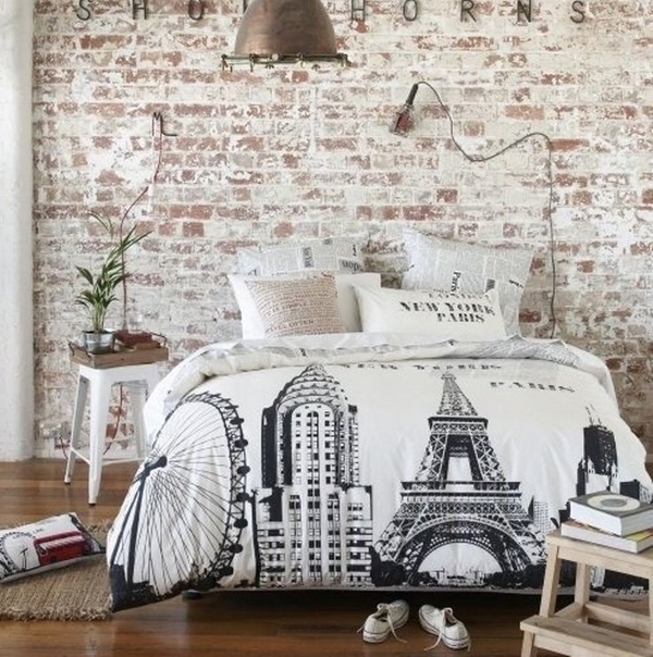 how-to-whitewash-brick-wall-Schlafzimmer-Deko-Ideen