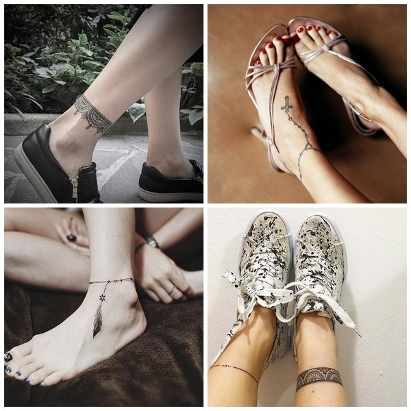 ankle tattoos bracelets cool designs for women