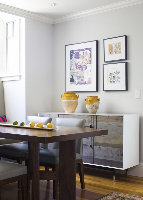 Dining-room-white-credenza-wood-cabinet doors