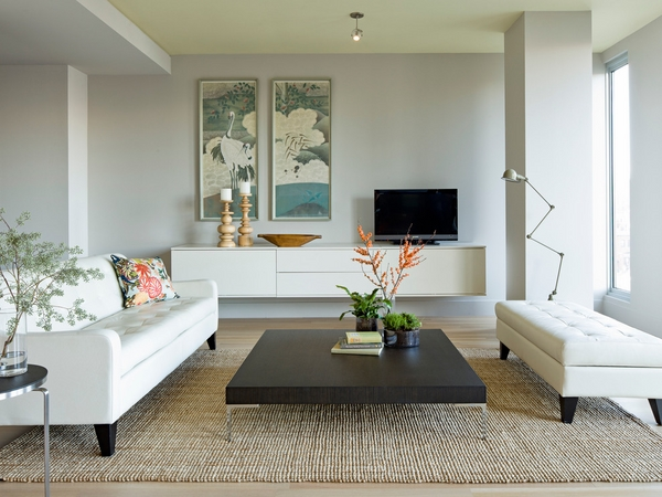 Contemporary-credenza-cabinet-white floating-credenza-modern living room