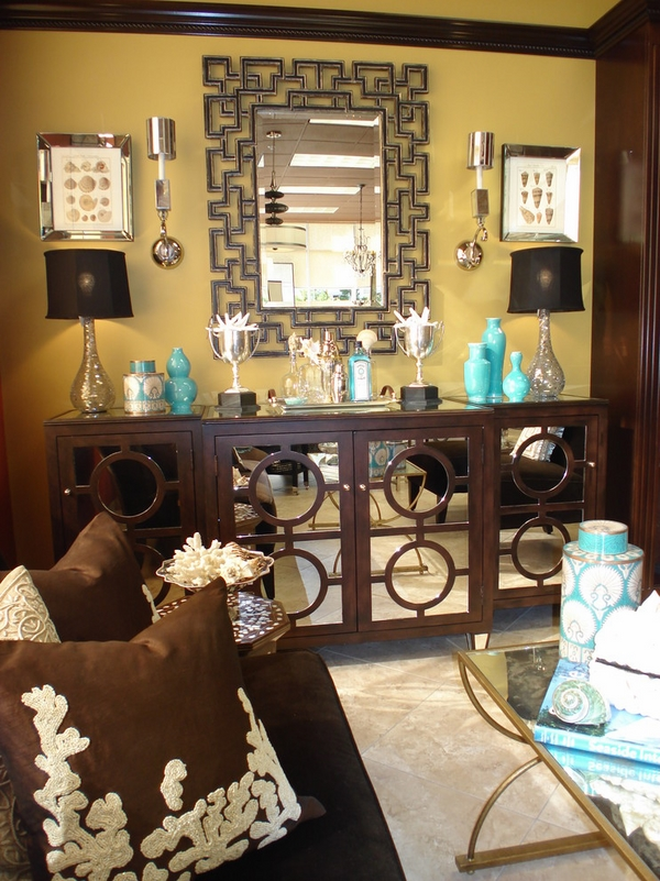 asian inspired-contemporary-credenza-mirror doors blue vases