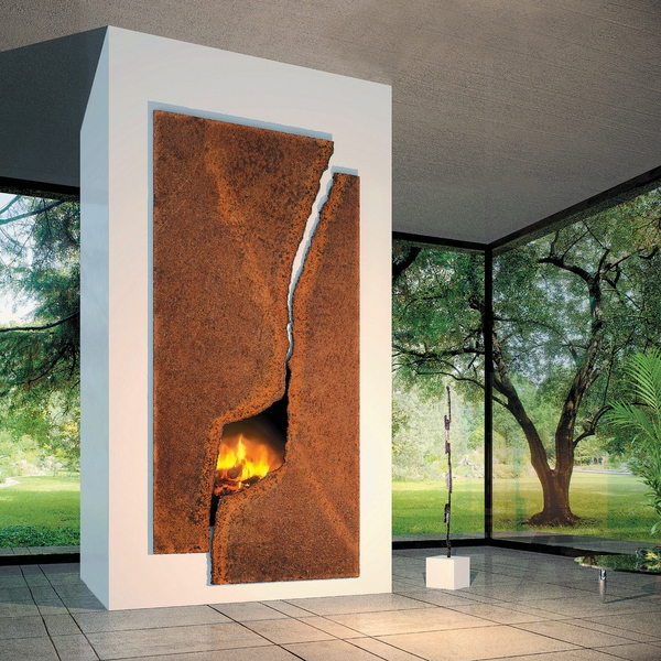 Contemporary-fireplace-surround-rusted-steel contemporary living room